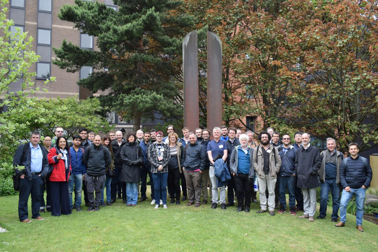 A photo of the meeting participants on campus at the University of Strathclyde